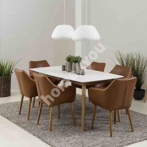 Dining set NAGANO with 6-chairs (AC55607), 150x80xH75cm, tabletop: wood, color: white, finishing: lacquered, legs: wood