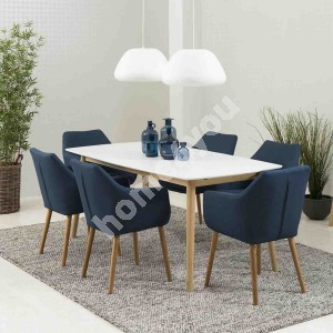 Dining set NAGANO with 6-chairs (AC59329), 150x80xH75cm, tabletop: wood, color: white, finishing: lacquered, legs: wood