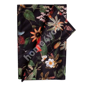 Table mat BLACK HOLLY 43x116cm, flowers on a black background