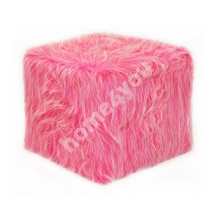 Stool TREND 40x40xH38cm, 100%polyester, pink