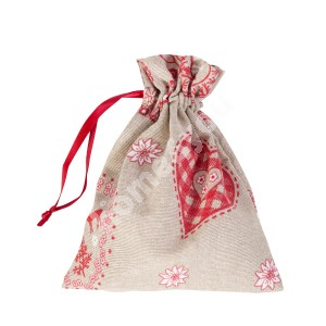 Gift bag LOVE & LOVE 13x16cm, 50%cotton / 50%polyester, fabric-178