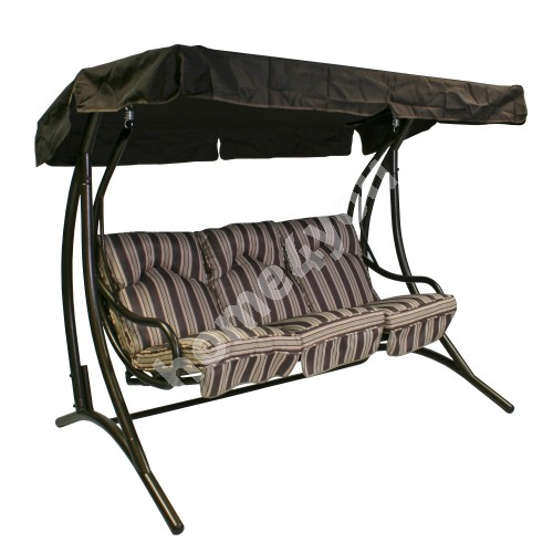 Swing MONTREAL 3-seater 205,5x125x163,5cm, steel frame, color: bronze, seat: polyester, color: brown striped