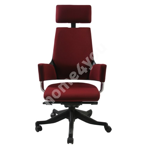 Task chair DELPHI with headrest, 60xD47xH116-128,5cm, seat and back rest: fabric, color: dark red