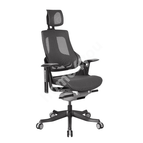 Task chair WAU with headrest, 65xD49xH112-129cm, seat: mesh fabric, color: grey, black outer shell