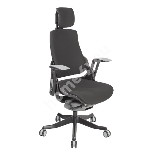 Task chair WAU with headrest, 65xD49xH112-129cm, seat: fabric, color: black, black outer shell