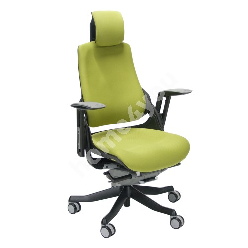 Task chair WAU with headrest, 65xD49xH112-129cm, seat: fabric, color: olive green, black outer shell