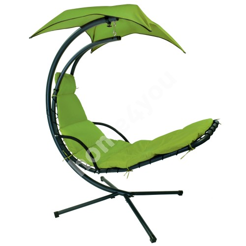 Hanging chair DREAM with awning, H205cm, color: green