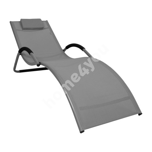 Deck chair BRIGO 177x65x73cm, seat: textiline, color: light grey, aluminum frame