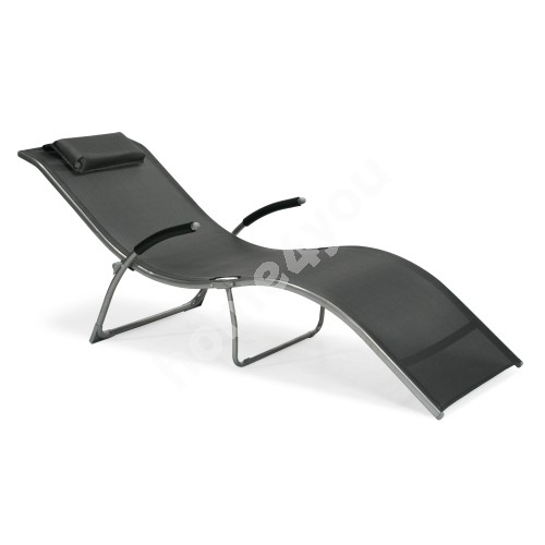 Deck chair BATYA 173x63x65cm, foldable, seat: textiline, color: grey, steel frame