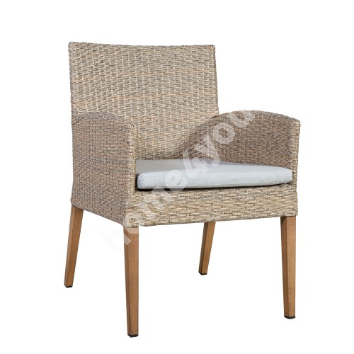 Chair HENRY with cushion 56x62xH85cm, aluminum frame with plastic wicker, color: beige, aluminum legs in teak wood color