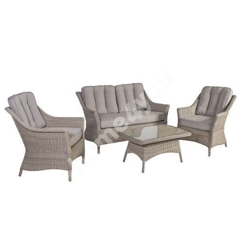 Garden furniture set PACIFIC with cushions, table, sofa and 2 chairs, aluminum frame with plastic wicker, color: greyish