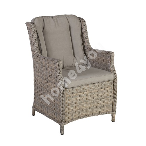 Armchair PACIFIC with cushions 61,5x71,5xH91cm, aluminum frame with plastic wicker, color: greyish beige