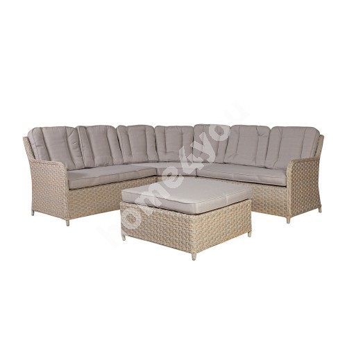 Garden furniture set PACIFIC with cushions, corner sofa and ottoman, aluminum frame with plastic wicker, color: greyish