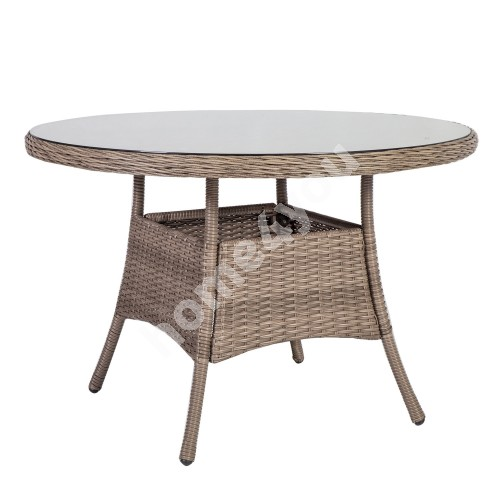 Table TOSCANA D110xH73cm, table top: glass, aluminum frame with plastic wicker, color: greyish beige