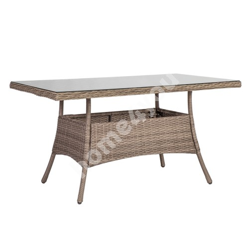 Table TOSCANA 140x80xH73cm, table top: glass, aluminum frame with plastic wicker, color: greyish beige