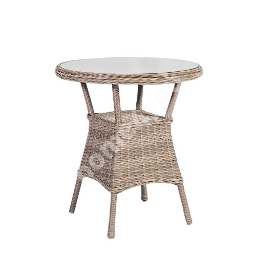 Table TOSCANA D65xH73cm, table top: glass, aluminum frame with plastic wicker, color: greyish beige