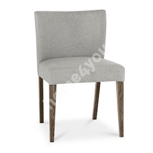Chair TURIN 57x51xH80cm, upholstered seat and back rest with fabric cover, color: grey, smoky oak legs