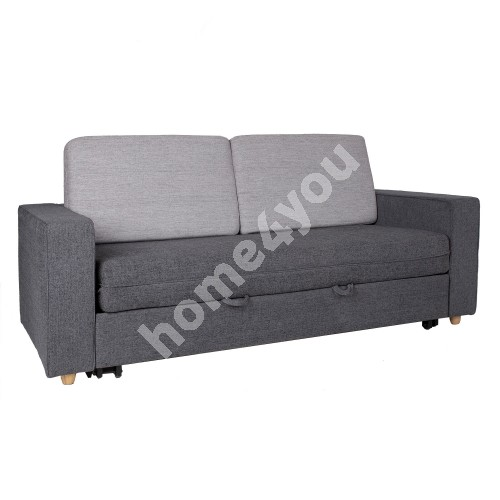 Sofa bed VIVICA 195x86xH92cm, cover material: polyester fabric, color: grey