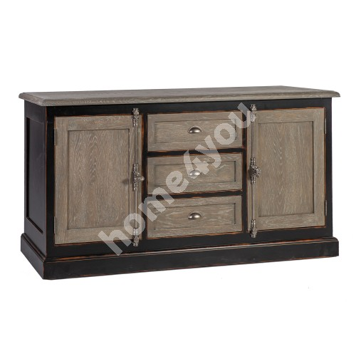 Side board WATSON 180x50xH90cm, material: oak veneer / solid birch and oak, color: natural oak / antique black