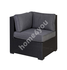 Mooduldiivan SEVILLA patjadega, nurk, 76,5x76,5xH74,5cm, alumiiniumraam plastikpunutisega, värvus: must