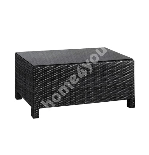 Придиванный столик SEVILLA 102x50,5xH43,5см, столешница: 5мм стекло, рама: алюминий с плетением из пластика, цвет:чёрный