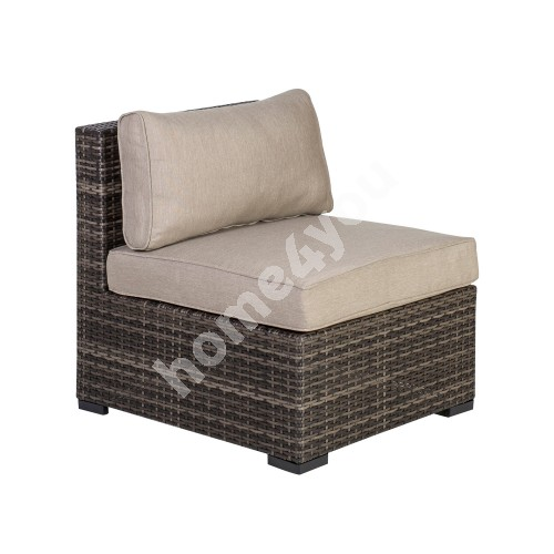 Module sofa SEVILLA with cushions, middle part, 67x76,5xH74,5cm, aluminum frame with plastic wicker, color: dark brown