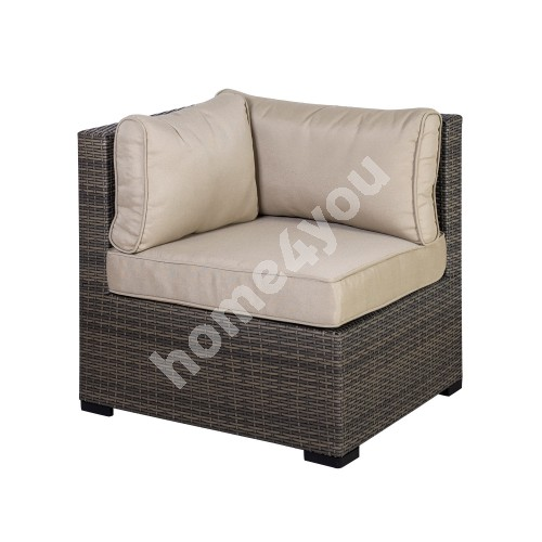 Module sofa SEVILLA with cushions, corner 76,5x76,5xH74,5cm, aluminum frame with plastic wicker, color: dark brown
