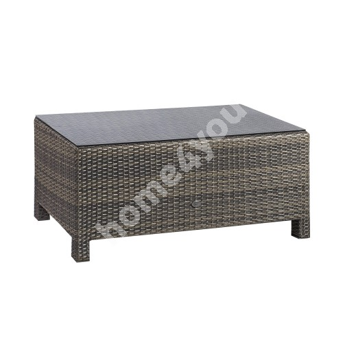 Coffee table SEVILLA 102x50,5xH43,5cm, table top: 5mm clear glass, aluminum frame with plastic wicker, color: dark brown