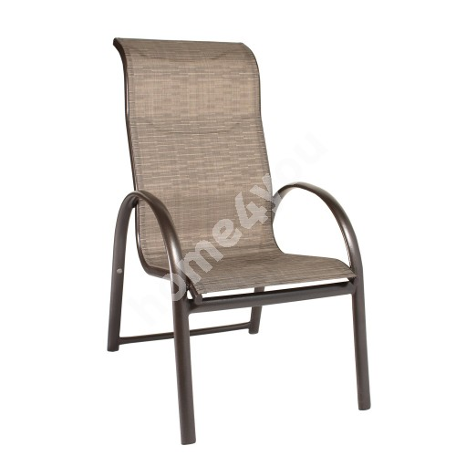 Chair MONTREAL 60x78,5xH107cm, seat: textiline, color: beige, aluminum frame, color: brown