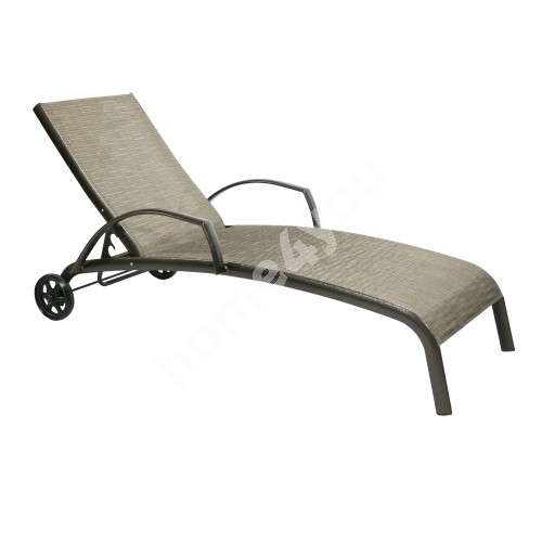 Deck chair MONTREAL-2 73x196x99cm, seat: textiline, color: beige, aluminum frame, color: brown