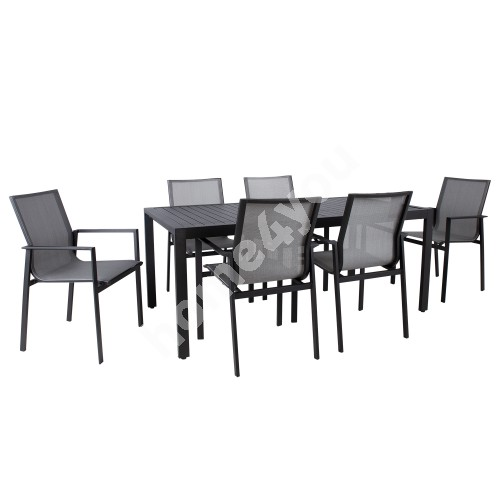 Garden furniture set AMALFI table and 6 chairs, black
