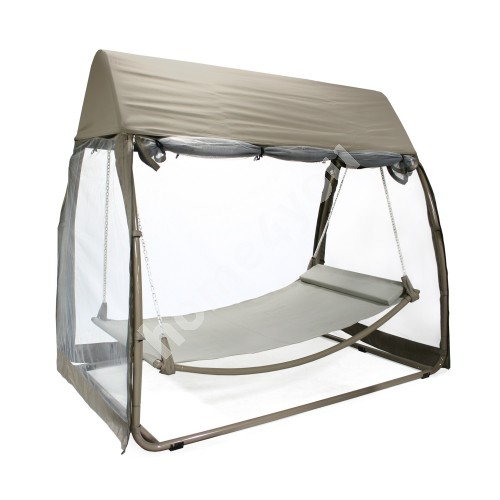 Hanging hammock SUNDAY with awning, 233x139xH205cm, seat: textiline, color: beige, awning: polyester, color: beige