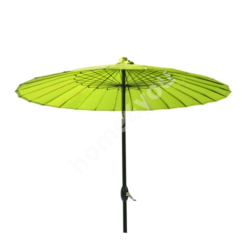 Parasol SHANGHAI, D2,13m, with crank, aluminum leg, color: black, cover: polyester fabric, color: green