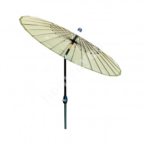 Parasol SHANGHAI, D2,13m, with crank, aluminum leg, color: black, cover: polyester fabric, color: beige