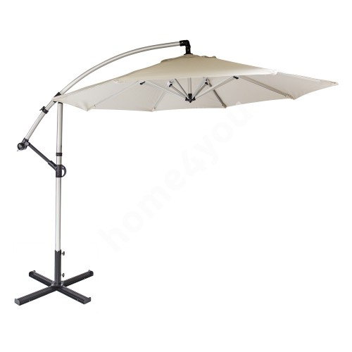Parasol CAPRI D3m, H240/280cm, leg: polished aluminum,  cover: polyester fabric, color: beige