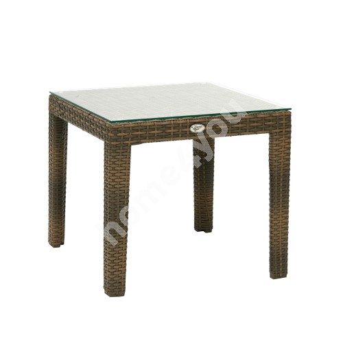 Side table WICKER 50x50xH45cm, table top: clear glass, aluminum framewith plastic wicker, color: cappuccino