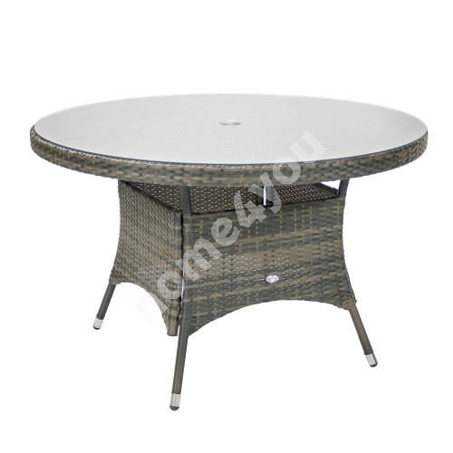 Table GENEVA D120xH76cm, table top: clear glass, aluminum frame with plastic wicker, color: grey