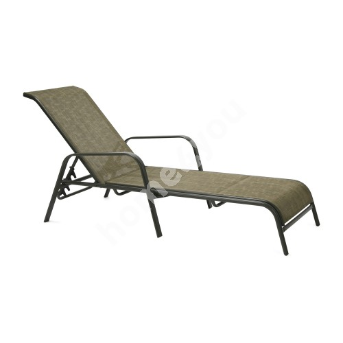 Deck chair DUBLIN 161x66,5xH48/100cm, seat and back rest: textiline, color: golden brown, steel frame, color: dark brown