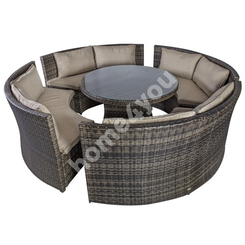 Set VENETO with cushions, table and 4 benches, aluminum frame with plastic wicker, color: dark brown