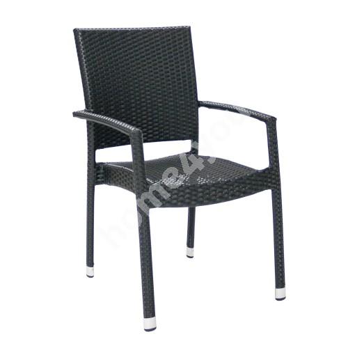 Chair WICKER-3 with arm rests 66x59xH92,5cm, aluminum frame with plastic wicker, color: black