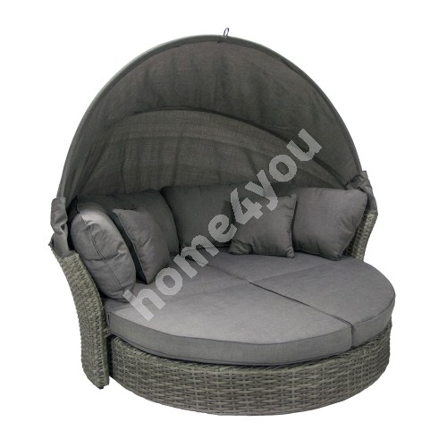Sofa MUSE-2 with canopy and cushions, aluminum frame with plastic wicker, color: grey