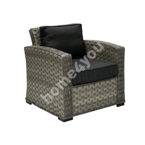 Armchair GENEVA with cushions, 78x75x78cm, aluminum frame with plastic wicker, color: dark grey
