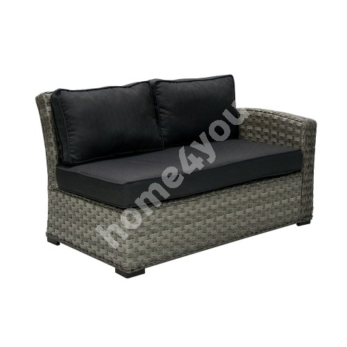 Module sofa GENEVA with cushions, with right arm 81x132x78cm,  aluminum frame with plastic wicker, color: dark grey