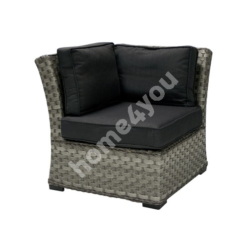 Module sofa GENEVA with cushions, corner, 81x81xH78cm, aluminum frame with plastic wicker, color: dark grey