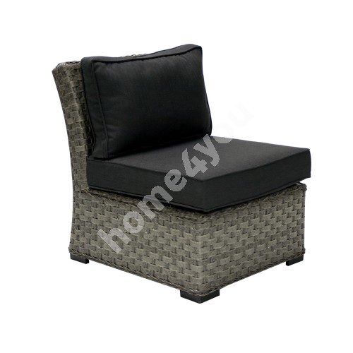 Module sofa GENEVA with cushions, middle part 81x62xH78cm, aluminum frame with plastic wicker, color: grey