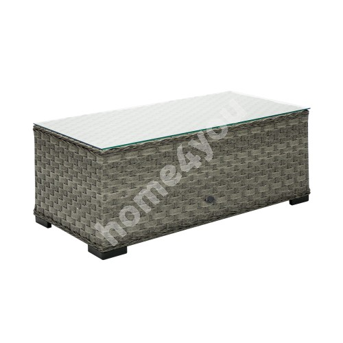 Coffee table GENEVA 105x51xH39cm, table top: 5mm clear glass, aluminum frame with plastic wicker, color: dark grey