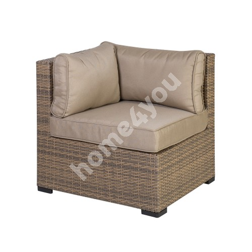 Module sofa SEVILLA with cushions, corner 76,5x76,5xH74,5cm, aluminum frame with plastic wicker, color: cappuccino