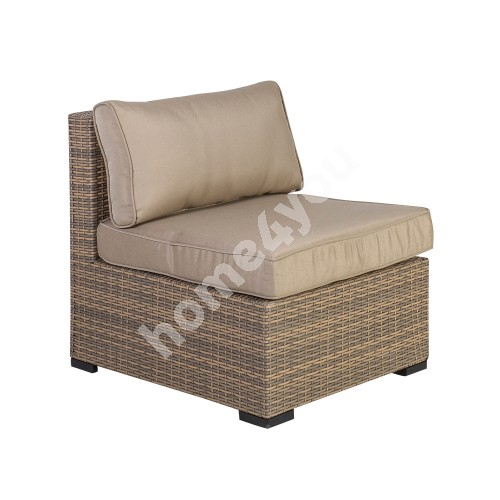 Module sofa SEVILLA with cushions, middle part, 67x76,5xH74,5cm, aluminum frame with plastic wicker, color: cappuccino