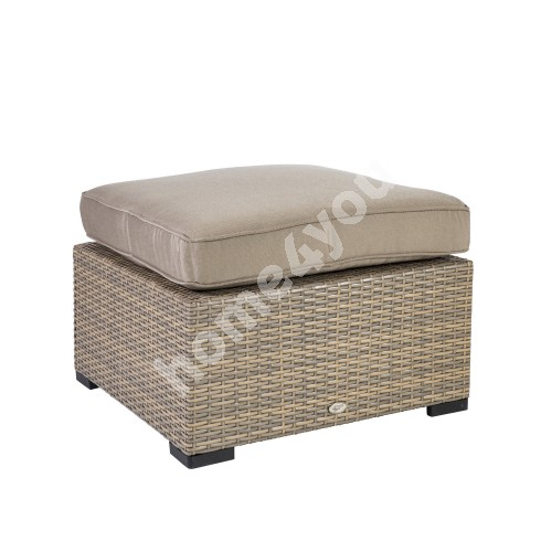 Stool SEVILLA with cushion 67x67xH32cm, aluminum frame with plastic wicker, color: cappuccino