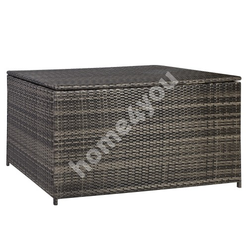 Cushion box WICKER 140x80x65cm, steel frame with plastic wicker, color: dark brown